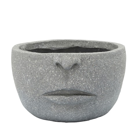 "12"" Cement Gray Half Face Planter"