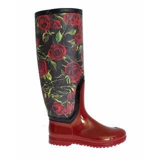 Dolce & Gabbana Red Roses Rubber PVC Rain Boots Shoes - 39