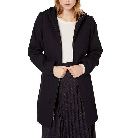 London Fog Womens Coat Deep Black Size Small S Wool Hooded Zip-Front