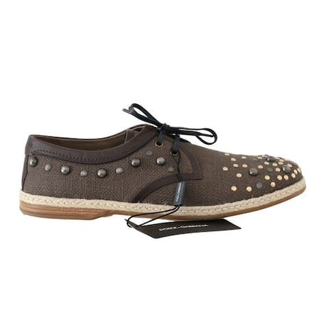 Brown Linen Leather Studded Casual Men's Shoes