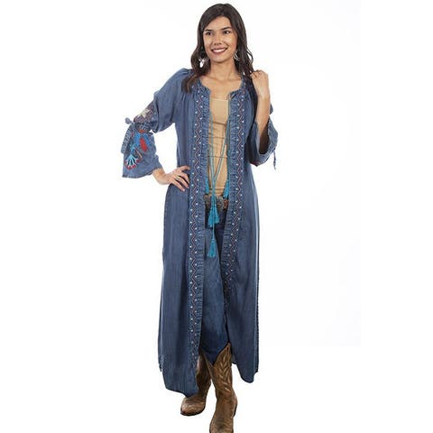 Scully Western Cardigan Womens Maxi Duster Embroidered Denim