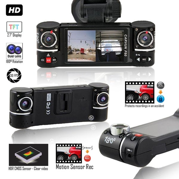 """Indigi DashCam DVR - Wide Angle Lens - Dual 180 Degree Coverage - Motion Activation - 2.7"""" LCD"""