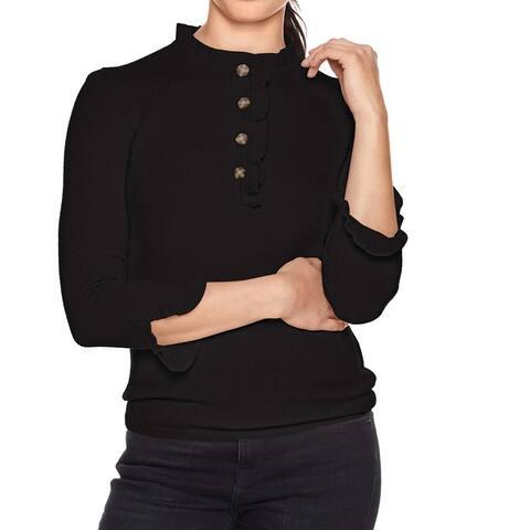 Lark & Ro. Women's Sweater Black Size XL Ruffle Cardigan Cashmere