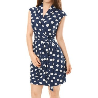 Unique Bargains Women's Sleeveless Tie Waist Above Knee Polka Dots Wrap Dress