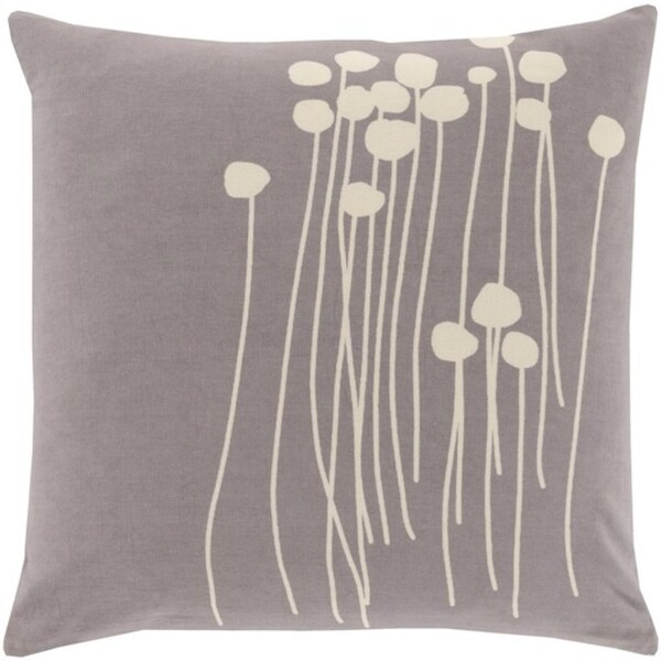 "18"" Gray and White Dandelion Dream Decorative Square Throw Pillow - Down Filler"