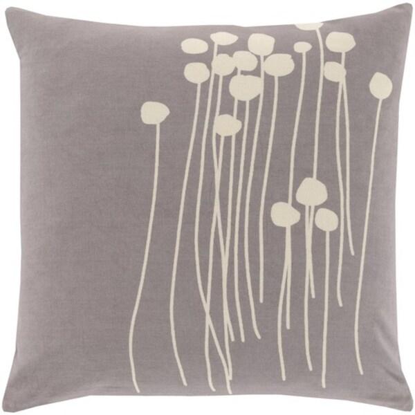 "20"" Gray and White Dandelion Dream Decorative Square Throw Pillow"