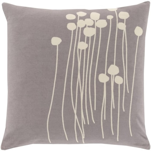 "22"" Gray and White Dandelion Dream Decorative Square Throw Pillow - Down Filler"