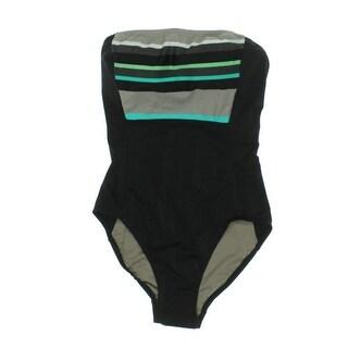 DKNY Swim Womens Colorblock Panel One-Piece Swimsuit - 14