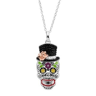 Crystaluxe Top Hat Skull Pendant with Swarovski Crystals in Sterling Silver - Black