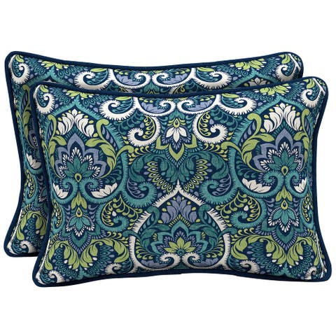 Arden Selections Sapphire Aurora Damask Outdoor Oversized Lumbar Pillow 2-Pack - 15 in L x 22 in W x 6 in H