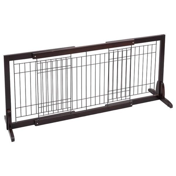Shop Gymax Slide Wood Dog Gate Pet Fence Playpen