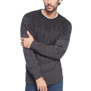 Weatherproof Vintage Cable Knit Sweater Small S Gray and Black Crewneck