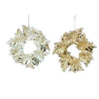 Club Pack of 12 Seasons of Elegance Gold and Silver Wreath Christmas Ornaments