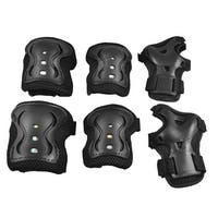 Skating Protective Pads Knee Elbow Palm Support Protector Black for Children