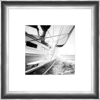 "32"" Black and White Contemporary Boat Side Print Decorative Wall Art"