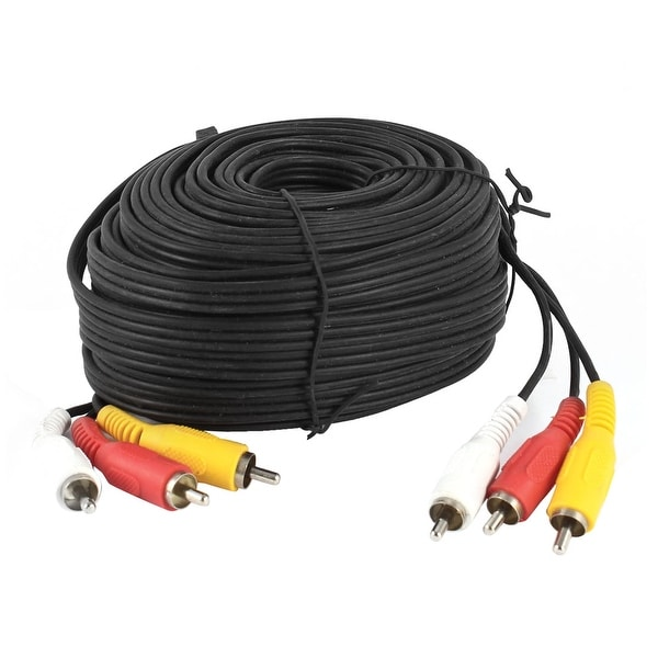 AV Audio Video Adapter Cord 3 RCA Male to 3 Male M/M 65ft Length Black
