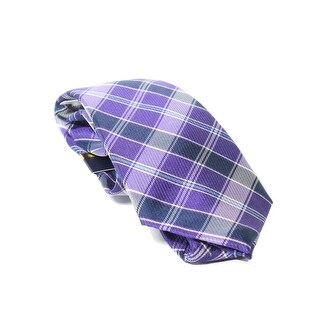 Club Room NEW Purple Blue Mens One Size Plaid Classic Neck Tie Silk
