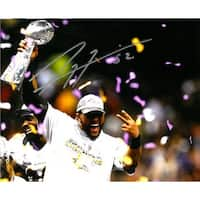 Ray Lewis signed Baltimore Ravens 8x10 Photo SB XLVII Trophy Celebration