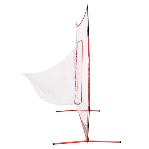 Goplus 7' X 7' Baseball Softball Hitting Batting Training Net - Red