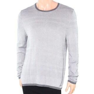 Alfani NEW Gray Mens Size 2XL Texture Stripe Crewneck Silk Sweater