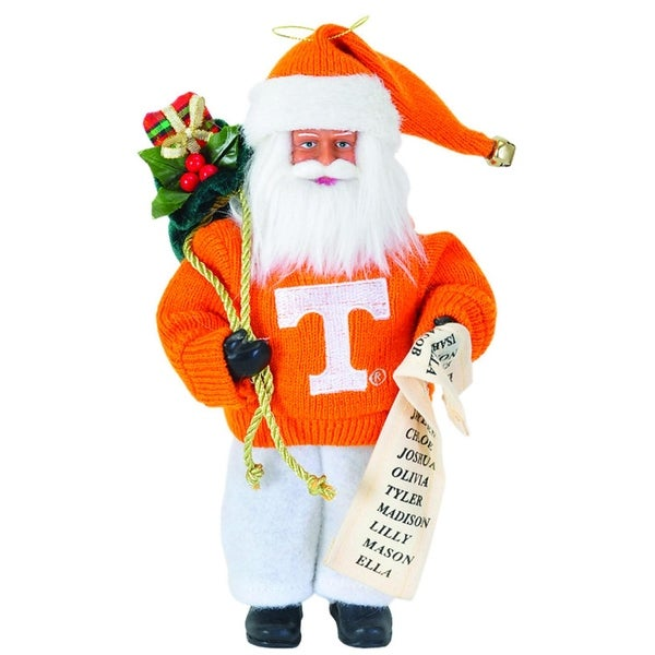 "9"" NCAA Tennessee Volunteers Santa Claus with Good List Christmas Ornament"