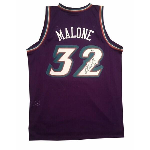 7fb7b797a Karl Malone Autographed Utah Jazz Signed Swingman Basketball Jersey Beckett  BAS COA XL