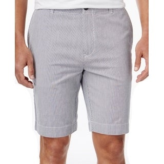 Tommy Hilfiger NEW Blue Mens Size 35 Classic-Fit Pinstripe Chinos Shorts