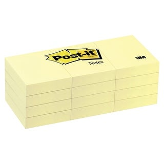 Post-it Original Notes, 1-1/2 x 2 in, Canary Yellow, Pad of 100 Sheets, Pack of 12