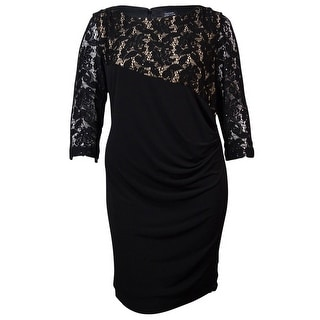 Tahari Women's Faux Wrap Sequin Lace Overlay Jersey Dress