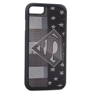 Superman Pose Shield Americana Brushed Silver Cellphone Case iPhone6 Rubber Case
