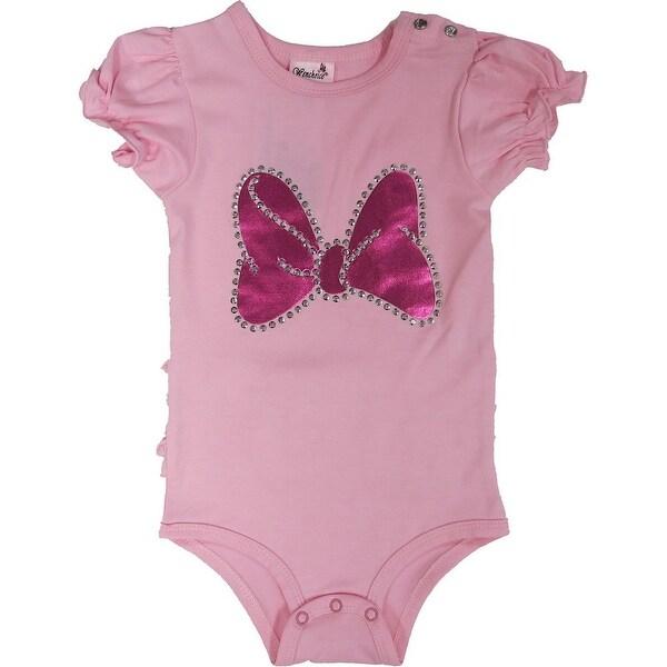 Wenchoice Baby Girls Pink Minnie Bow Ruffle Trim Bodysuit