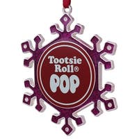 "3.5"" Silver Plated Pink Snowflake Tootsie Roll Pop Candy Logo Christmas Ornament with European Crystals"