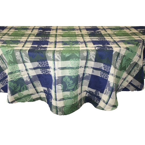Handmade Floral Plaid Jacquard Grapevine Tablecloth 100% Cotton - Rectangle Square Round & Towel