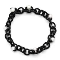 Chisel Black Fabric with White Fresh Water Cultured Pearls Bracelet