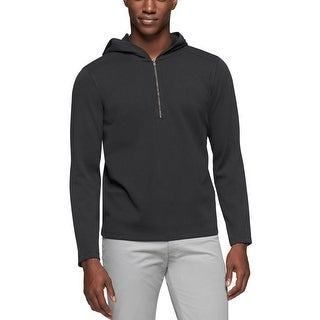 Calvin Klein CK Hooded Sweater Medium M Black Quarter Zip Pullover