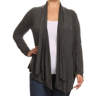 Women Plus Size Long Sleeve Jacket Casual Cover Up Charcoal