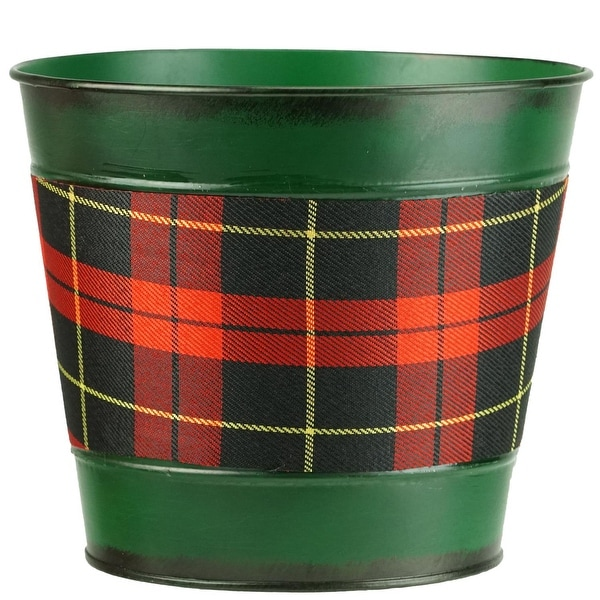 """6.5"""" Small Green with Tartan Plaid Christmas Potted Plant Cover"""