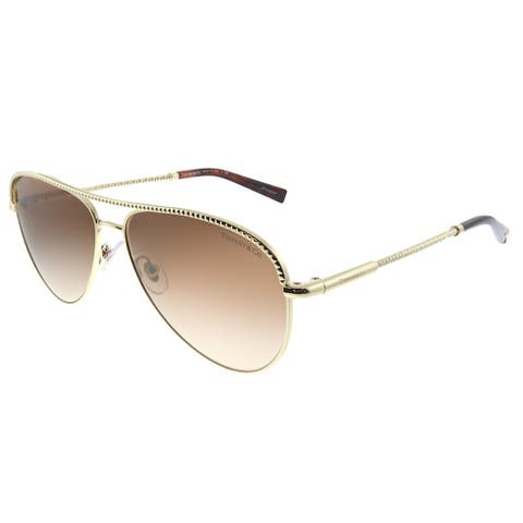 Tiffany & Co. TF 3062 60213B Womens Pale Gold Frame Brown Gradient Lens Sunglasses