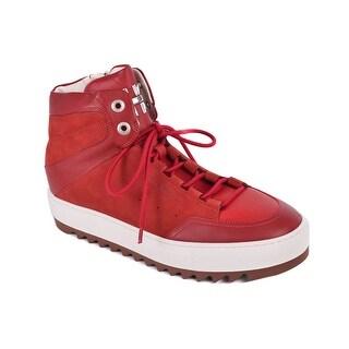 Salvatore Ferragamo Men Red Leather Laramie Gancini Sneakers