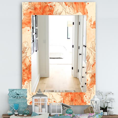 Designart 'Handdrawn Asian Flowers With Orange Watercolor' Traditional Mirror - Wall Mirror