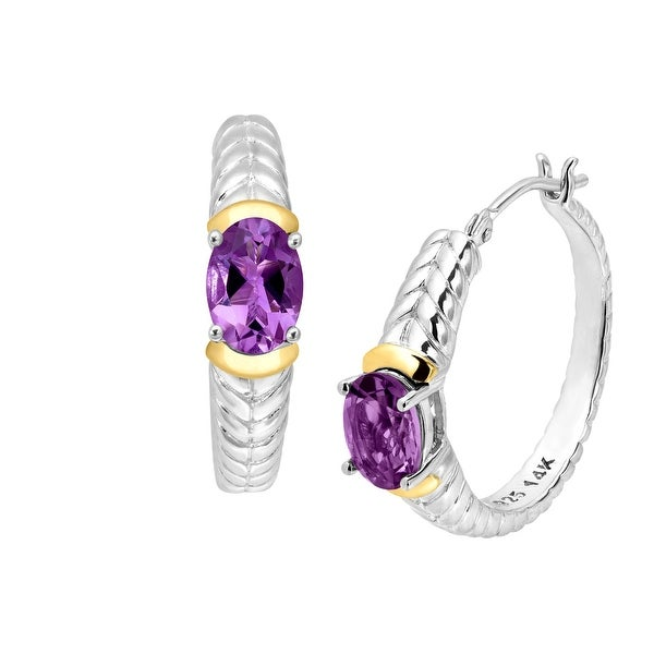 1 1/3 ct Natural Amethyst Braided Hoop Earrings in Sterling Silver & 14K Gold - Purple