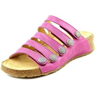 Haflinger Payton Women Open Toe Leather Purple Slides Sandal