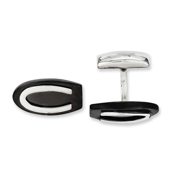 Chisel Stainless Steel Black IP Oval Cuff Links