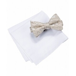 Countess Mara NEW White Lyons Floral Bow Tie Pocket Square Set Silk