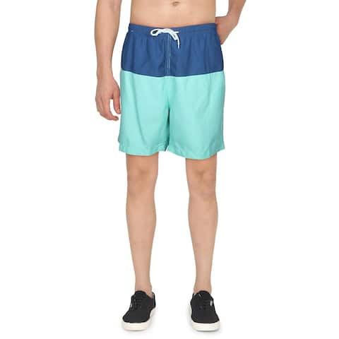Trunks Mens Colorblock Quick Dry Board Shorts - Victory Blue - XXL