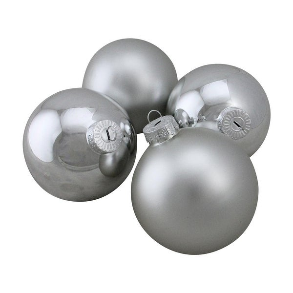 "4-Piece Shiny and Matte Silver Glass Ball Christmas Ornament Set 4"" (100mm)"