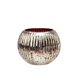 """Set of 4 Red and Silver Ribbed Round Mercury Glass Decorative Votive Candle Holders 3.25"""""""
