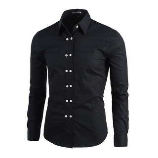 Men Double Breasted Solid Slim Fit Long Sleeve Button Down Dress Shirt - Black