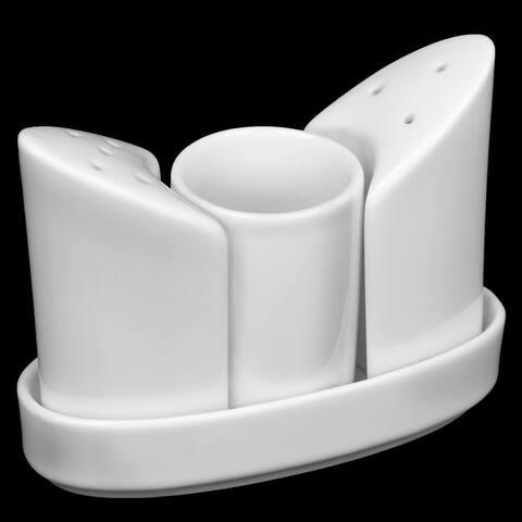 """Wilmax Fine Porcelain Set Of 2 Salt & Pepper Set - 3.3"""""""