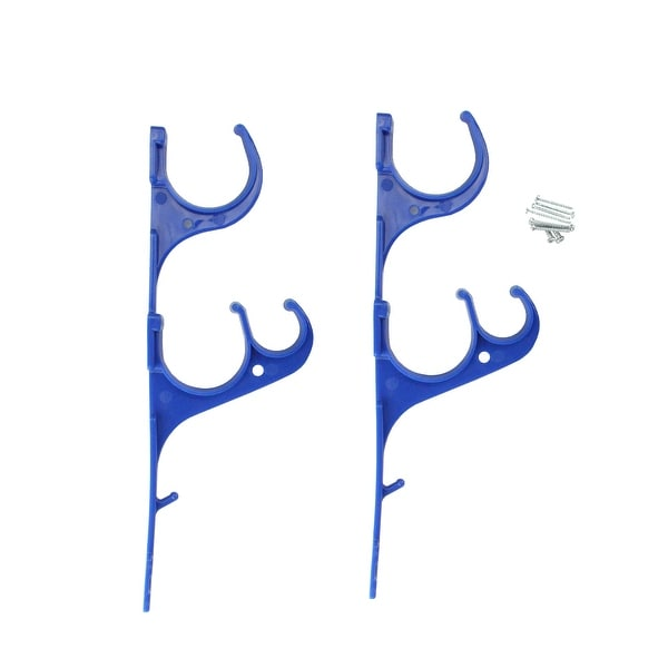 Set of 2 Blue Pole and Vacuum Hose Swimming Pool Accessory Hangers 12.25\' -  N/A